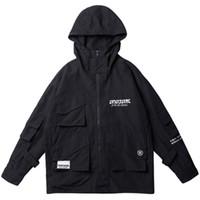 jacke koreanischen stil windjacke großhandel-Harajuku Männer Hooded Windbreaker Jacke Multi Pocket Hip Hop Streetwear Jacke Mantel Korean Style Zipper Track Jacke Casual Black