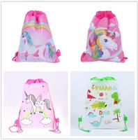 kız duş hediye toptan satış-Unicorn İpli Parti Çanta Unicorn İpli Sırt Çantaları Hediyeler Çanta çocuklar Doğum Günü Partisi Malzemeleri Favor Çanta Çocuk Kız Bebek Duş