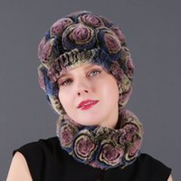 Wholesale pink green silk scarfs resale online - 2019 Fashion Women Scarfs Rex Rabbit Rose Hat And a Flower Scarf Women Popular Set Rex Rabbit Scarf Hat Set Of Two