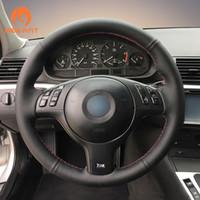ingrosso ruote auto di bmw-Coprivolante per automobile MEWANT in pelle sintetica nera per BMW E46 E39 330i 540i 525i 530i 330Ci M3 2001-2003