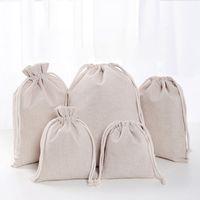 bolsos de lino del favor del cordón al por mayor-Bolsas de lino con cordón Bolsas de compras reutilizables Fiesta Candy Favor Saco Algodón Embalaje de regalo Bolsas de almacenamiento DHL WX9-1488