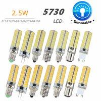 e11 e14 al por mayor-Bombilla LED regulable G4 G9 E11 E12 E14 E17 BA15D 5730 SMD 80 Bombilla LED Iluminación de silicona Blanco cálido puro AC110V 220V