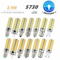 ingrosso ba15d ha condotto la lampadina-Lampadina LED dimmerabile G4 G9 E11 E12 E14 E17 BA15D 5730 Lampada LED SMD 80 LED Lampadina in silicone Pure Warm White AC110V 220V