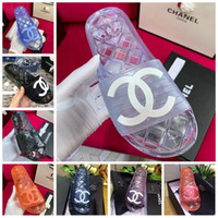 Wholesale womens moccasins slippers resale online - Clear Jelly p Pvc Mules Sandals Womens Luxury Designer Shoes Transparent p Glossy Pool Mules Slides Lady Rubber Slip On Sandals Slipper