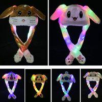 kinder bewegen sich großhandel-9 Styles Led Plüsch Cartoon Tier-Kappe für Kaninchen Pikachu Katze Häschen-Ohr-Moving-Light-Kappen Erwachsene Kinder Weihnachten warme Hut XD21730