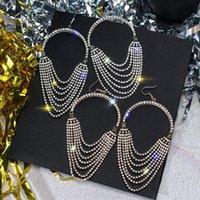 Wholesale geometric earrings for sale - Group buy Luxury Jewelry Accessories Brithday Gift Women Semi round Geometric Dangle Earrings Rhinestone Drop Earrings Birthday Gift
