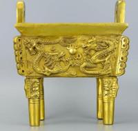 trípodes de china al por mayor-Nuevo ++ + + Quemador de incienso de dos dragones de cobre puro, estufa de perlas, hornos cuadrúpedos para el hogar, muebles para el hogar