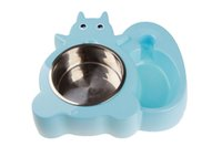 Wholesale cat stainless steel feeder resale online - 1PCS Squirrel Shape Pet Water and Food Feeder Pet Dog Stainless Steel Bowl Set Cat Bowl Mat
