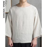 ingrosso vestiti di lino d'epoca-Sinicism Store Maglietta da uomo in lino di cotone estiva Abiti larghi oversize Maglietta sottile vintage tradizionale cinese da uomo