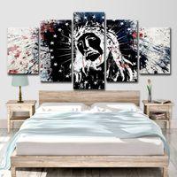 amerikanische indische malereien großhandel-Leinwand Home Decor Gemälde Raum Wandkunst 5 Stücke Native American Indian Poster HD Drucke gefiederte abstrakte Bilder