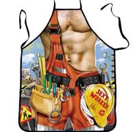 barbacoa en casa al por mayor-Sexy Funny Apron Muscle Man Delantal impreso para cocina BBQ Limpieza Cocinar delantal Uso diario en el hogar