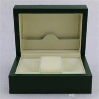 wrist watch gift box оптовых-Высокое качество роскошные мужские наручные часы коробки содержат оригинальный зеленый RO большая коробка, часы box + английский инструкции + подарочная сумка,