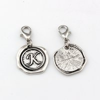 Wholesale letter k beads for sale - Group buy 50Pcs Alloy Letter quot K quot Alphabet Initial Floating Lobster Clasps Charm Beads Fit Charm Bracelet DIY Jewelry x32 mm Antique Silver A b