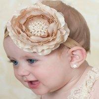 ingrosso banda di panno dei capelli della neonata-Le ragazze adorabili dei bambini delle ragazze dei dolci di caramella multi-strato hanno fatto i capelli accessori di modo dei capelli della fascia dei capelli del rhinestone di lusso del fiore del panno