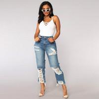 Women Summer Jeans Ripped Boyfriend Fashion Skinny Vintage High Waist Jeans Plus Size Pantalones Mujer Vaqueros #T1P