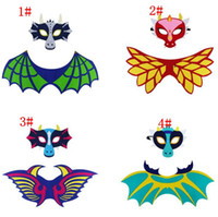 Wholesale Cosplay - kids Dragon Wing Cape And Mask Cosplay Monster Dragon Costumes Child Halloween performance party costume props wings cloak mask KKA6667