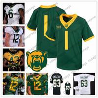 johns verde venda por atacado-Personalizado Baylor Bears NCAA Football Qualquer Nome Número Branco Verde Amarelo # 12 Charlie Brewer II 5 Denzel Mims 7 John Lovett Jersey 4XL