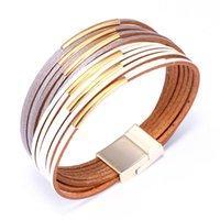 Wholesale bohemia multilayer bangles online - Bohemia Leather Bracelets For Women Fashion Multilayer Wide Wrap Charm Bracelet Femme Jewelry colors Female Bangles
