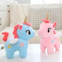 tek boynuzlu dolmalık oyuncaklar toptan satış-20 cm Yüksek Kalite Sevimli Unicorn Peluş Oyuncak Dolması Unicornio Hayvan Bebekler Yumuşak Karikatür Oyuncaklar Çocuk Kız Çocuklar için Doğum Günü Hediye