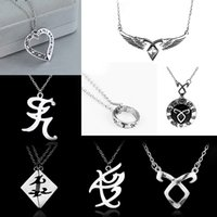 Wholesale city bones rune necklace for sale - Group buy dongsheng The Mortal Instruments City of Bones necklace vintage Angelic Power Runes Shadowhunters pendant men and women Gift
