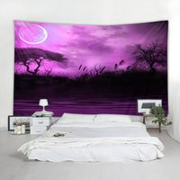 ingrosso arazzo muro viola-Regalo per Housewarming paesaggi Red Purple Sunset bagliore del sole stampato Tapestry Hanging Decoration Wall Art telo mare Scialle