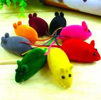 gesunde maus großhandel-Pet Beflockung Plüschmäuse Gummi Spielzeug Katzen Spielzeug Heimtierbedarf Gesunde Zähne für Haustiere Geschenke für Kinder