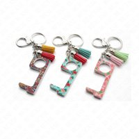 Wholesale plastic chain china resale online - Keychain Acrylic Men Women Tassel Keychain Public Non contact Elevator Button Protective Tool Key Chain Ring Holder door opener SALE E73101