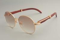 Wholesale sun visors sunglasses for sale - Group buy 2019 new round sunglasses sunglasses retro fashion sun visor natural wooden temple sunglasses