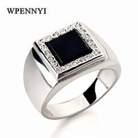 schwarze onyx-sets großhandel-Für Mann Weißgold Farbe Quadrat Schwarz Onyx Strass Einstellung Fingerring Großhandel