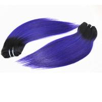 pelo morado de 12 pulgadas al por mayor-El pelo humano recto teje el color T / Purple de 12 paquetes del cabello humano 100% humano del indio peruano brasileño de grado superior