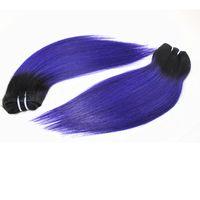 12 zoll lila haare großhandel-Glattes Menschenhaar spinnt bestes brasilianisches peruanisches indisches 100% Menschenhaar-Bündel Farbe T / Lila 12 Zoll