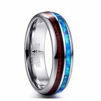 стальной карбид оптовых-6 мм широкий полированный ушка оболочки карбида вольфрама кольца древесины синий опал вольфрама стали обручальное кольцо