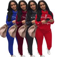 Wholesale zebra print leggings for sale - Group buy Champions Letter Print Tracksuit Brand Women Spring Outfits Long Sleeve T shirt Tops Pants Leggings Piece Set Sweatshirt Sport Suit A3104
