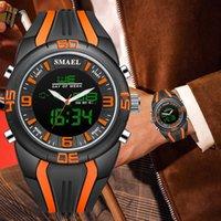 часы двойные цифровые часы оптовых-SMAEL Мода Повседневная Марка мужские часы Dual Time Камуфляж Спортивные Мужские Часы LED Цифровой Двойной Дисплей Часы Reloj Hombre