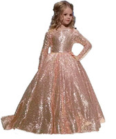 ingrosso il vestito della piccola ragazza si veste il sequin-Said Mhamad Gold Princess Flower Girls 'Dresses Tutu 2019 Toddler Little Girls Pageant Comunione Dress In Stock Cheap Kids Formal