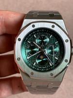 relógio de negócios multifunções venda por atacado-Relógio automático do verde real da máquina do vidro da safira da Multi-função 41mm do negócio do relógio do luxo dos homens