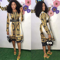 kadınlar için vintage giyim stilleri toptan satış-Tasarımcı Kadın Giyim Yeni Stil Klasik Afrika Bayan Vintage Elbise Dashiki Moda Baskılı Yaka Boyun Uzun Kollu Gömlek Elbiseler