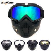 Wholesale open face helmets vintage for sale - Group buy Vintage Helmets Motorcycle Goggles Face Mask Detachable Modular Mask Open Face Motorcycle Goggle Half Helmet Glasses