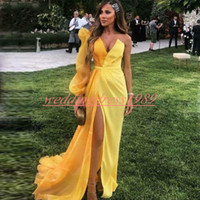 Wholesale strap back gown resale online - Sexy Long Sleeve Split African Evening Dresses Pageant Prom Gowns One Shoulder Long Sleeve Satin Yellow Robe de soirée Formal Wear Party