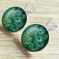 cadılar bayramı mücevher tüyü toptan satış-Marka Vintage Hoop Küpeler 2019 Cadılar Bayramı Takı Yuvarlak Cameo Kristal Kabaşon Etnik Peacock Tüy Küpe Dangle