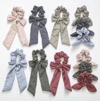 gravata de listra venda por atacado-Cabelo Stripe Stripe INS Bow Mulheres Acessórios Faixas de Cabelo Laços Scrunchie Rabo De Cavalo Titular Corda De Borracha Decoração Orelhas De Coelho Longo Arco Grande