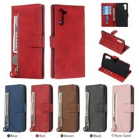 zíper de carteira de silicone venda por atacado-Zipper Coin Multifunções Cartões Wallet Capa De Couro Para Samsung Galaxy Note10 Pro NOTA 9 8 M30 M20 M10 A10 A80 A70 A60 A50 A40 A20 A30 Capa