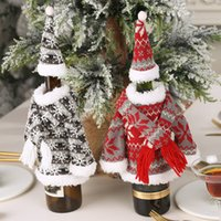 Wholesale knitted hood scarf resale online - Christmas Decoration Set Knitted Scarf With Hood Clothes Bottle Set Creative Party Cloth Supplies Colors EEA828