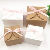 100pcs 90*90*60mm And 65*65*45mm Gift Candy Box Colorful Paper Storage Boxes For Small Cosmetics Packaging Box With Pink Ribbon