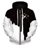 frauen galaxie hoodie großhandel-Harajuku Stil 3d Print Hoodies Zipper Jacket Sweatshirt für Frauen Männer Raum Galaxy Verschüttete Milch Lässige Zip Up Sweatshirts Pullover XP020
