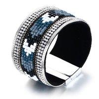 bracelete de pulseira de couro de strass venda por atacado-As mulheres azuis largas de 35MM cobrem o embutimento do cristal de rocha do bracelete do bracelete do couro do plutônio do tênis do plutônio das mulheres