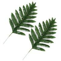 Wholesale leaf accessories resale online - 20pcs Artificial Plam Treen Leaves Home Garden Decoration Accessories Fake Plants Simulation Leaves