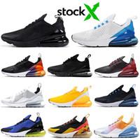 мужские желтые кроссовки оптовых-Nike Air Max 270 airmax FLORAL Обувь для бега для женщин Мужская обувь SE Triple Black White RAINBOW HEEL Мужские спортивные кроссовки 36-45