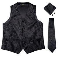 chalecos de seda de los hombres al por mayor-Hi-Tie Men Classic Black Flaoral Jacquard Chaleco de seda Chaleco Pañuelo Gemelos Party Wedding Tie Vest Suit Set MJTZ-0109