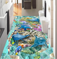 Wholesale dolphin bathroom decor for sale - Group buy 3d pvc flooring custom photo Self adhesive Waterproof floor Undersea Dolphin Coral Cave home decor bathroom wallpaper for walls d